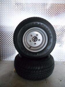 2-LRE-20-5x8-0-10-Bias-Trailer-Tire-on-10-034-5-Lug-Silver-Wheels-205-65-10
