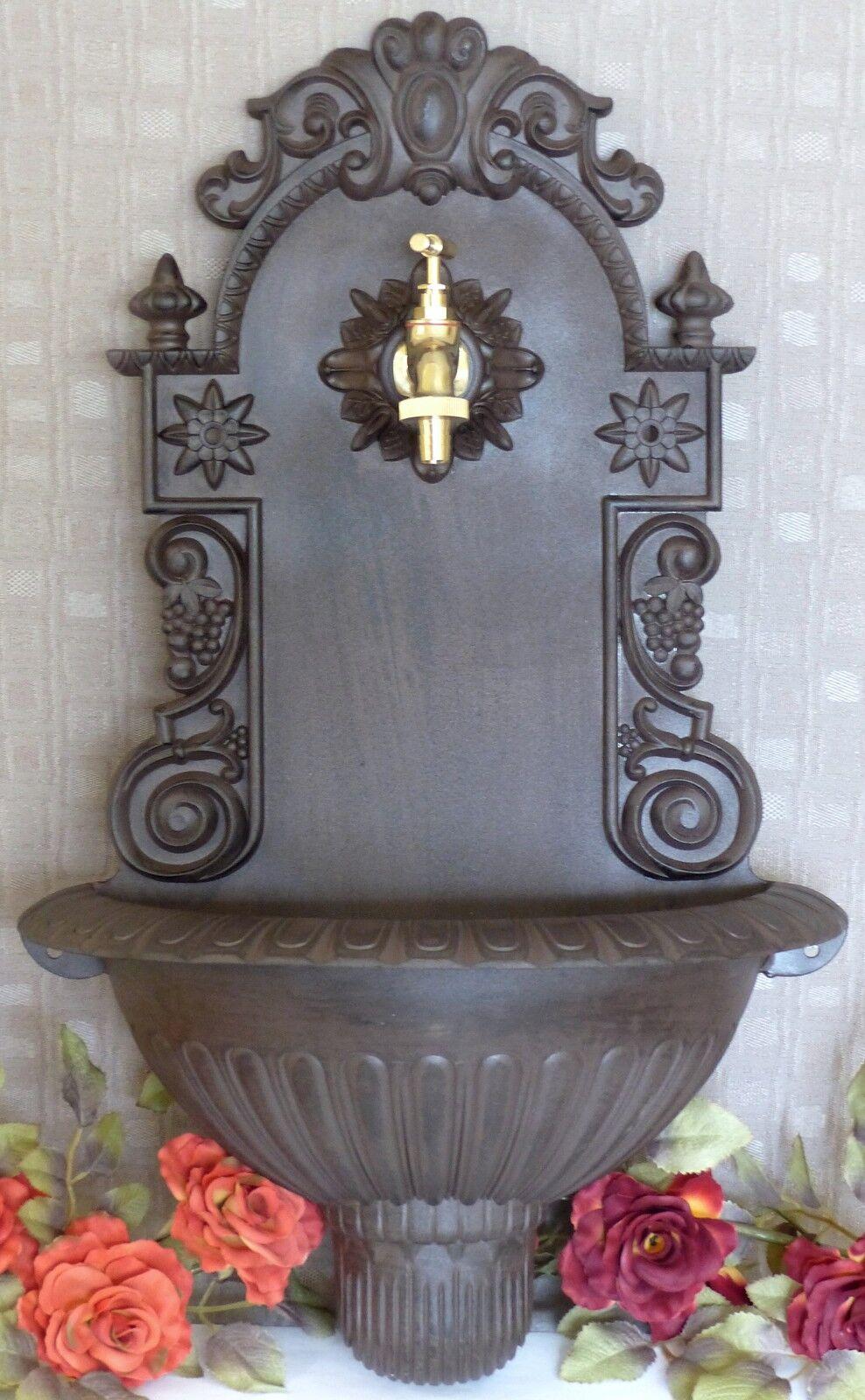 Nostalgia muro pozo lavabos Antik aluminio 60 cm jardín pozo grifo de agua