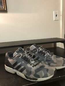 32979e1cd8ee1 Adidas ZX Flux Decon Camo Mens Grey Black Running Shoes Size 11.5 | eBay