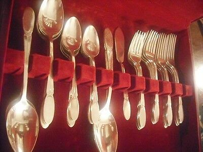 1847 Rogers Sylvia silverplate set for 8+ soup spoons +3 serv pc  EXCELLENT