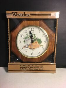 A3-Vintage-New-NOS-Westclox-Wall-Clock-Country-Garden-Seeds-Carrots-Tomatoes-WOW