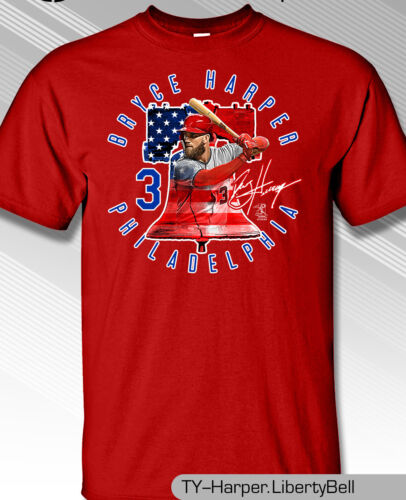 Philadelphia Phillies MLBPA #3 Bryce Harper LIBERTY BELL Youth Boys T Shirt Red
