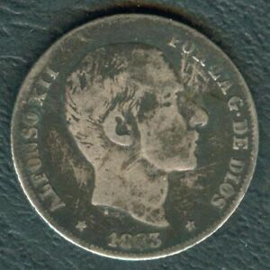 1883-Spanish-Philippines-20-Centimos-ALFONSO-XII-Filipinas-SILVER-Coin-AA4