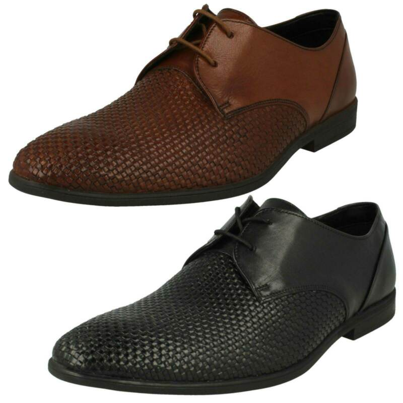 Clarks Bampton Weave Mens Leather Weave Detailed Lace Up Shoe