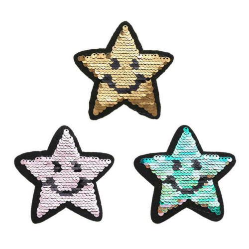 DIY Clothes Patches Shiny Five-Pointed Stars Reversible Change Color Cloth lGH