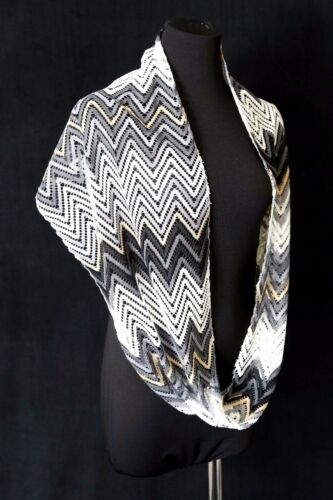 B32 Lace Gold White Gray Silver Metallic Chevron Zig Zag Infinity Scarf Boutique