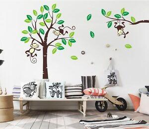 Image Is Loading Giraffe Monkey Tree Wall Art Stickers Kids Nursery