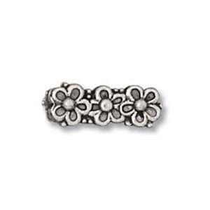 SIX-1-2-034-Pewter-Floral-Bracelet-Bar-Spacer-3-holes-for-3-Strand-Bracelets