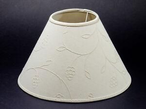 Lampenschirm-Rund-18-cm-Leinen-mit-Ranken-Muster-Tischleuchte-E14-Nachttisch