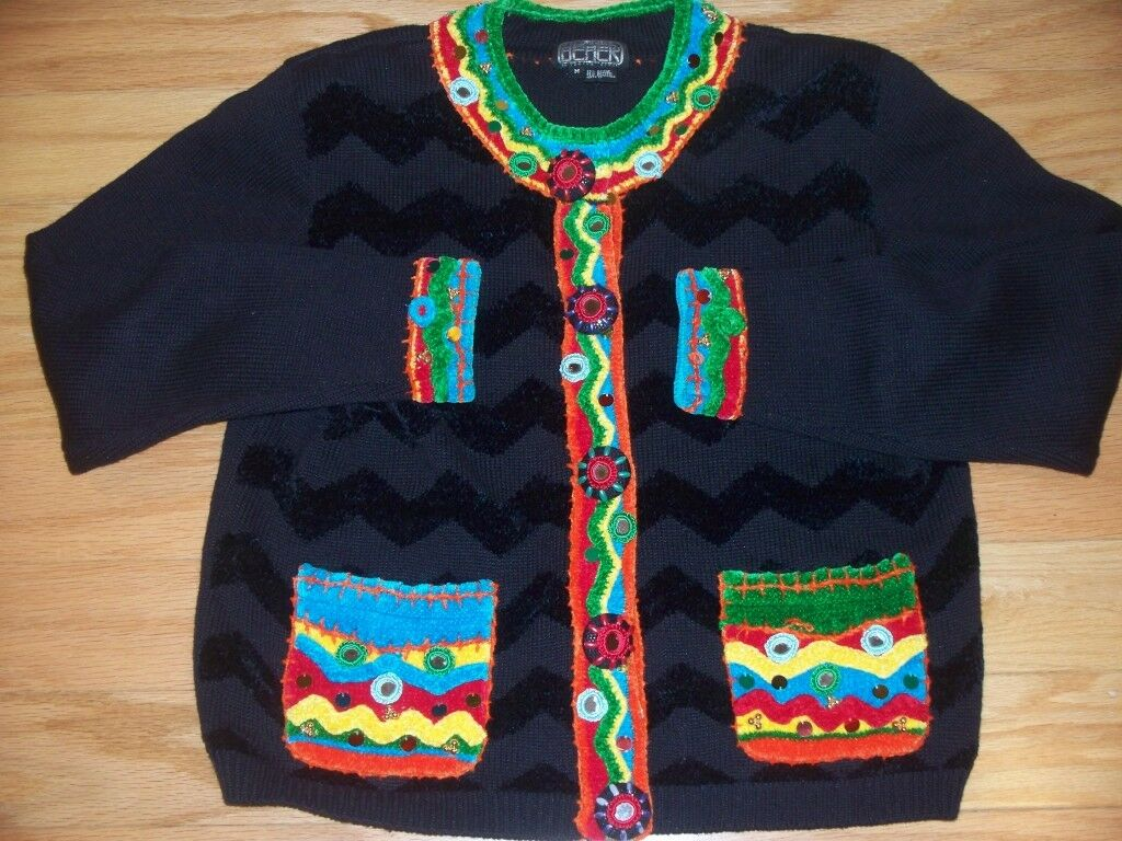 UGLY CHRISTMAS SWEATER SWEATER SWEATER By BEREK Loaded w  Mirrors Ornaments Sequins Beads M f2bb44