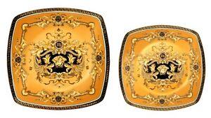10-034-or-7-5-034-Euro-Porcelain-Medusa-Fine-Bone-China-Dinner-or-Dessert-Plates-Gold