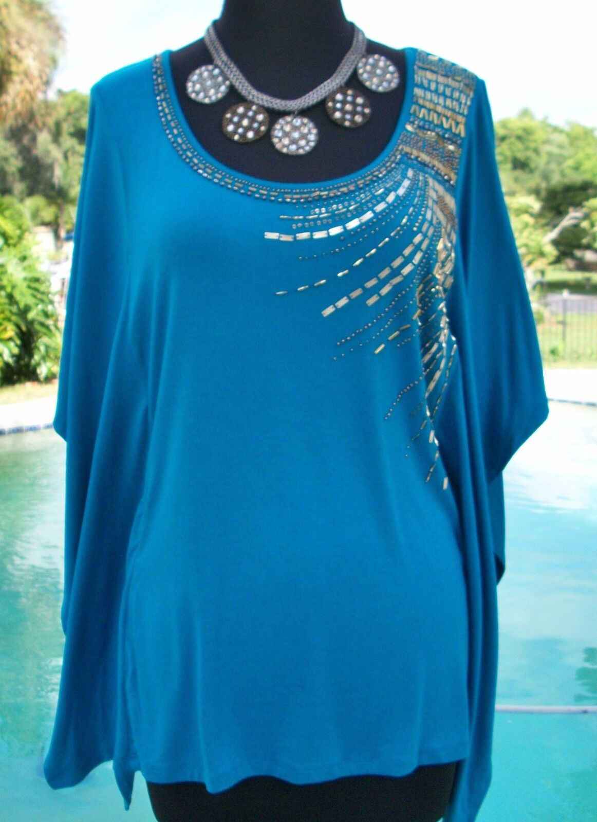 Cache M L Lined Dolman Sleeve Top Embellished Stretch Body Con Design  NWT