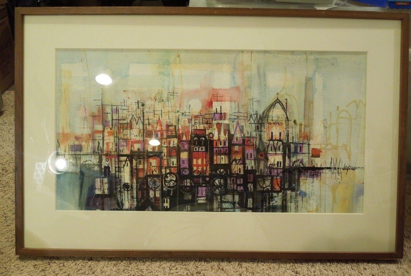 Bunt Abstrakt Stadt Gerahmt von Joseph J Defrancesco Mattierte & Gerahmt Kunst