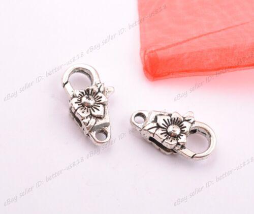 10Pcs Tibetan Silver Charms Heart Lobster Clasps /& Hooks DIY Jewellery Making