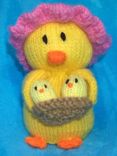 Mother and baby Chick chocolate orange cover or 15 cms toy KNITTING PATTERN