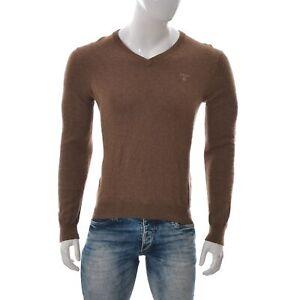 GANT-Uomo-Cotton-Wool-Maglia-Scollo-A-V-Manica-Lunga-Maglione-Camicia-Marrone-S