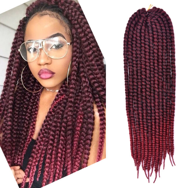 24 Inch Havana Mambo Twist Crochetid Hair Extensions Dark Burgundy Burgundy