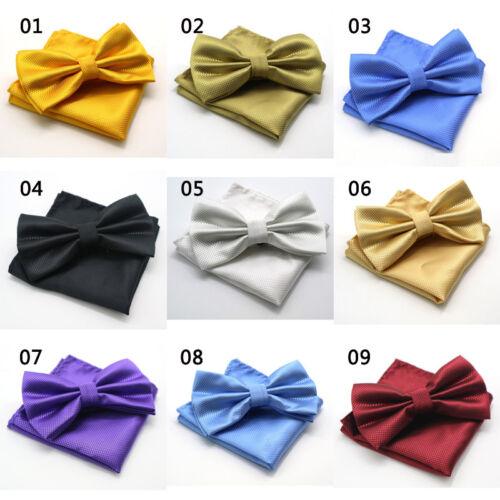 SALE solid mens Bow Tie handkerchief Set Silk Pocket Square Wedding Party Ties