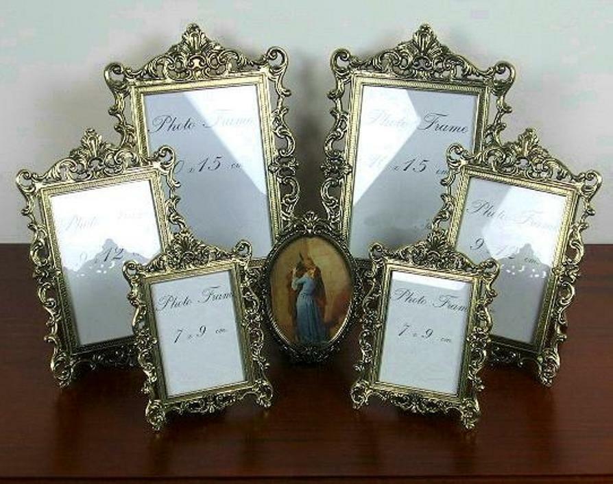 Cadre photo Set Galerie 7 x Cadre Photo Frame métal ornées de Baroque Antique or