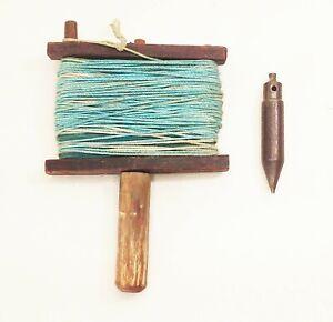 Vtg-antique-cast-iron-plumb-bob-amp-old-wood-chalk-line-box-surveying-tool