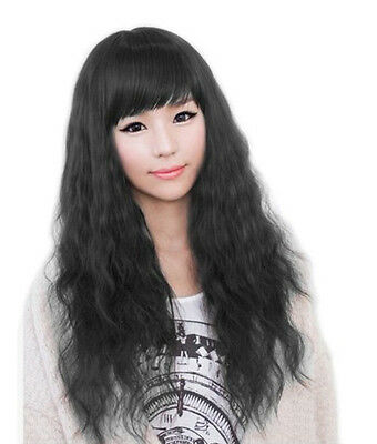 Women Classic Fashion Lady Long Curly Wavy Hair Full Cosplay Party Wigs Black