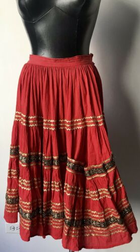 Vintage 1950s Red Patio Skirt Gold Ric Rac Full S… - image 1