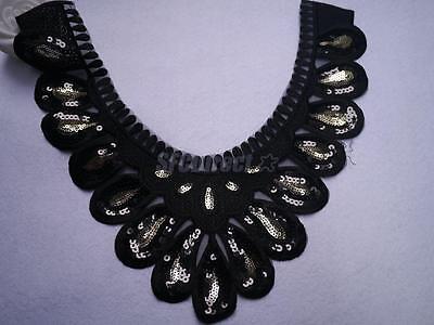 Black Sequins Trim Floral V-neck Collar Neckline Venise Applique Embroidery