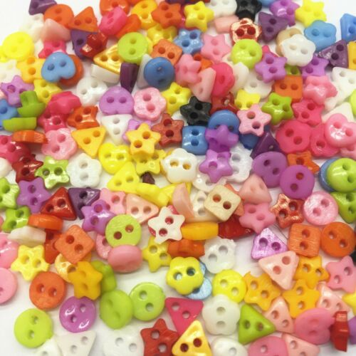 300 6mm ROUND TINY SMALL RESIN BUTTONS MIXED COLOURS CRAFT  SCRAPBOOK SEWING