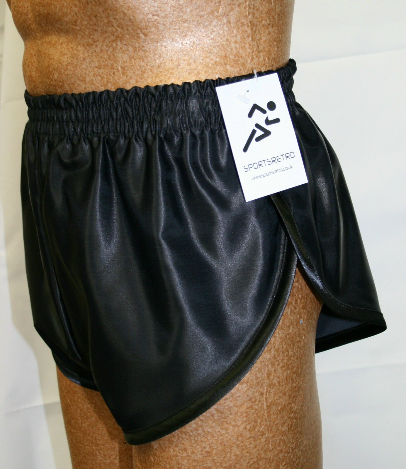 Retro Nylon Satin Sprinter Shorts S to 4XL, Plain Black