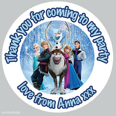 24x Personalised Frozen 45mm Round Stickers Labels Party Thank You Seals -B1