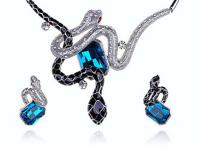 Fashion Blue Sapphire Enamel Snakes Crystal Rhines Necklace Earrings Set Pendant