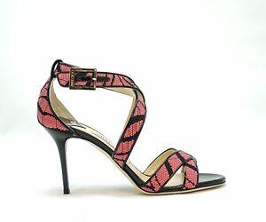 Jimmy-Choo-Ladies-Zebra-Rose-Sandal-LOUISE-New-in-Box