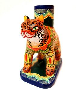 Izucar-Ceramic-Candleholder-Jaguar-Authentic-Mexican-Folk-Art-by-Arte-Casbal