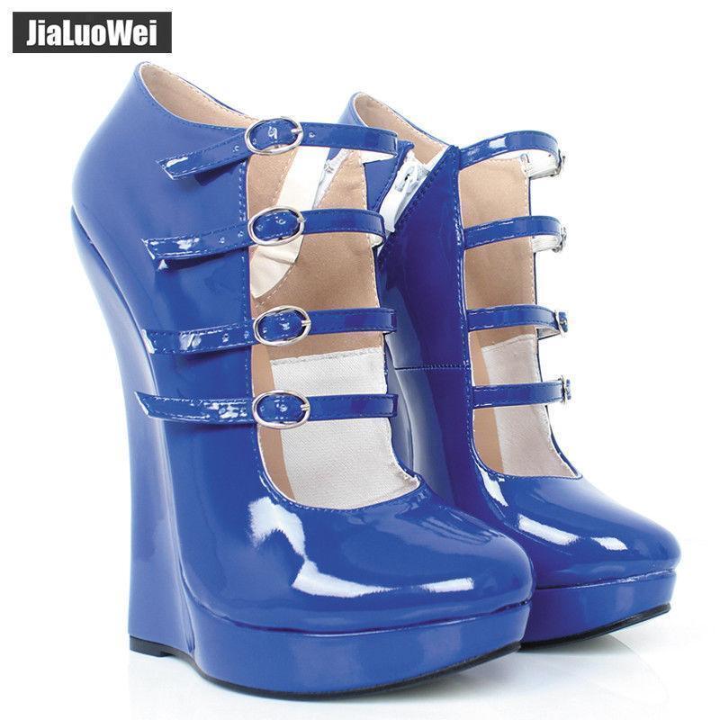 18cm Tacón Alto Zapatos de plataforma para para para mujer cuñas rojas y trabillas bombas 36-46  comprar mejor