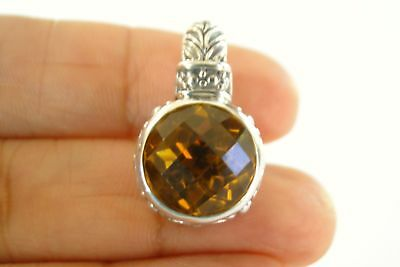 Oval Golden Yellow Citrine Solitaire Ornate 925 Sterling Silver Pendant