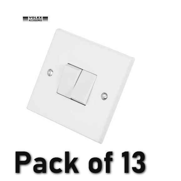 Volex VX1040 10A White Moulded 2 Gang 2 Way Light Switch Pack of 13 (JL35)