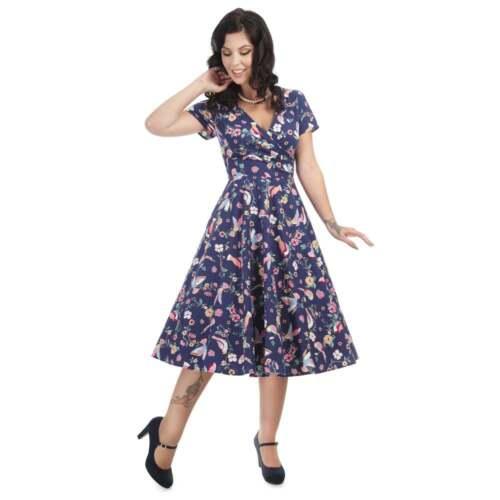 Blue 8 Sz Dress Navy Charme Bird 22 Maria anni '50 svasato Vintage Collectif U1pAqzq6