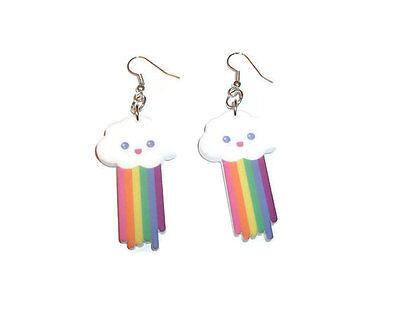 Cloud Dangle Earrings Kawaii Pooping Cloud Pastel Rainbows Cute Laser