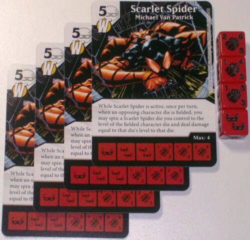4 X SCARLET SPIDER MICHAEL VAN PATRICK 62//142 Civil War Dice Masters