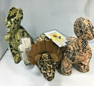 Disney-World-T-Rex-Brontosaurus-Triceratops-Dinosaur-Lot-of-3-Beanie-Plush-Toy