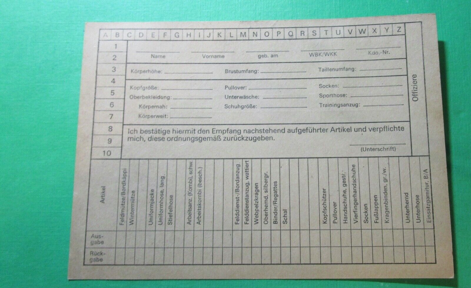 Bild 1 - DDR - NVA Dokument zur Ausgabe Bekleidung und Ausrüstung / 1963