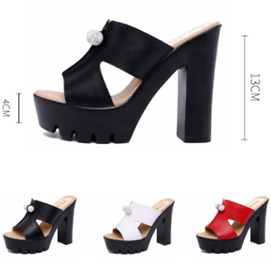Womens-Peep-Toe-High-Chunky-Heels-Platform-Slipper-Summer-Sandals-Mules-Shoes-GS