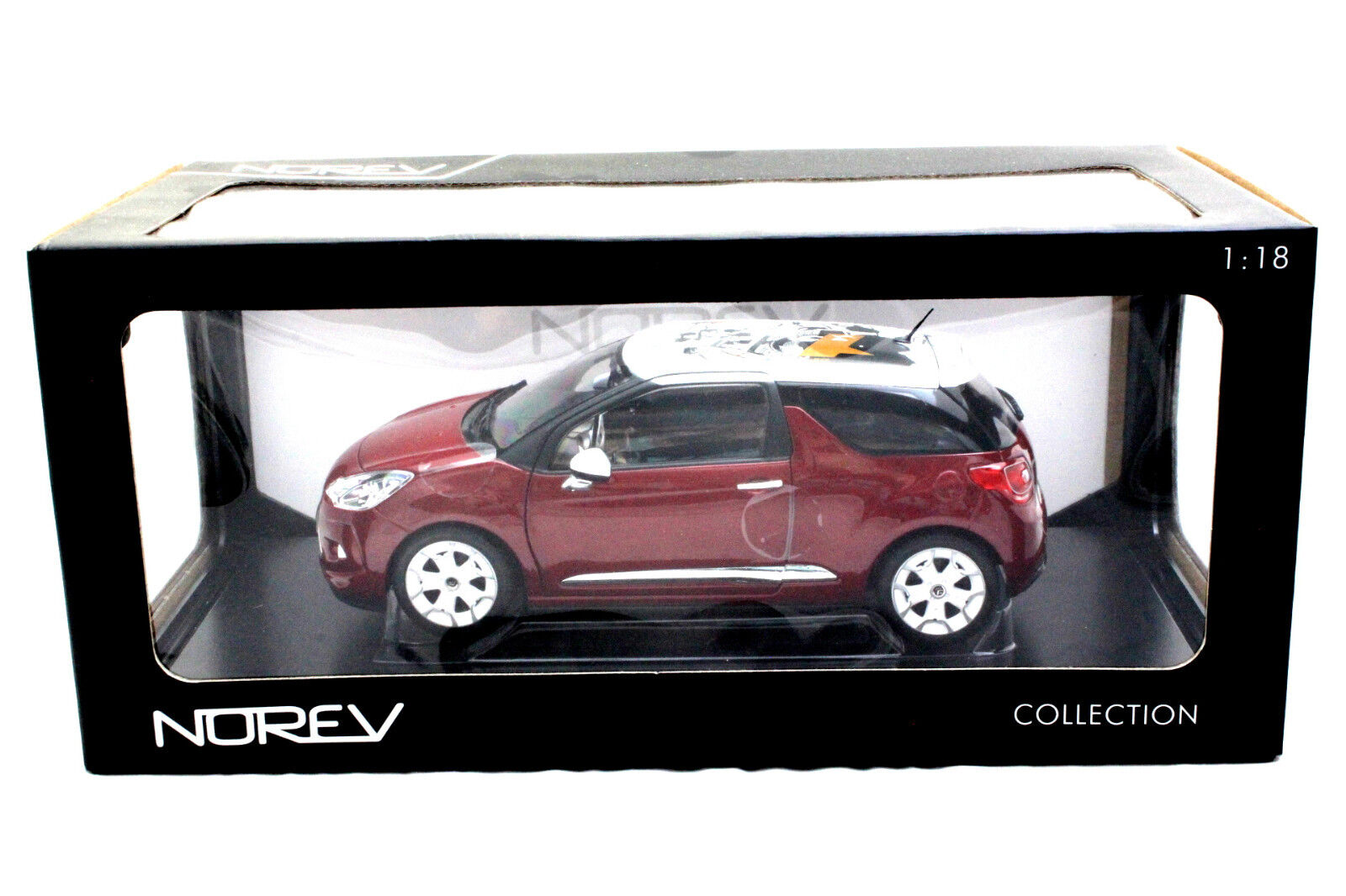 NOREV 2010 CITROEN DS3 SANGUINE RED WITH WHITE ROOF 1 18 DIECAST CAR