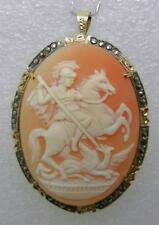 ANTIQUE VERMEIL GOLD OVER 800 SILVER DRAGON SLAYER SHELL CAMEO BROOCH - LB-C1380