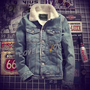 foderato pelliccia cappotti giacche inverno Outwear casual Caldo Cowboy jeans caldo uomo qcwZnB8n4