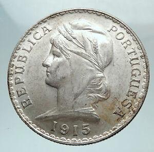 1915-PORTUGAL-with-Liberty-Antique-BIG-Genuine-Silver-PORTUGUESE-Coin-i80175