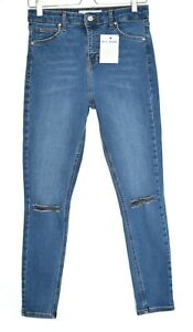 Topshop-Jamie-Super-Skinny-High-Rise-Ripped-Jeans-Stretch-Blu-10-12-W30-L30