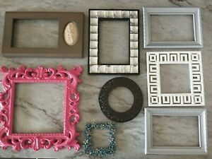 Vintage Lot 8 PICTURE FRAME Recycle Arts Crafts Project Deco ornate retro geo