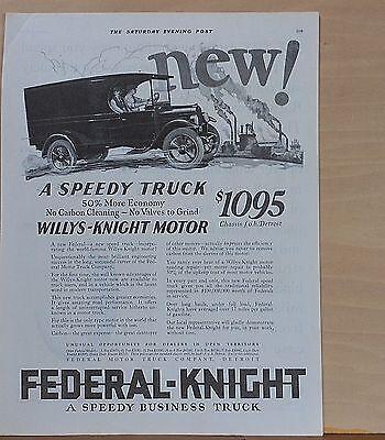 1924 magazine ad for Federal-Knight Trucks - Speedy truck, Willys-Knight  motor   eBay