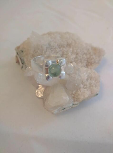 Unique Beautiful Green Tourmaline Ring set in 925 Sterling Silver Size 8.5